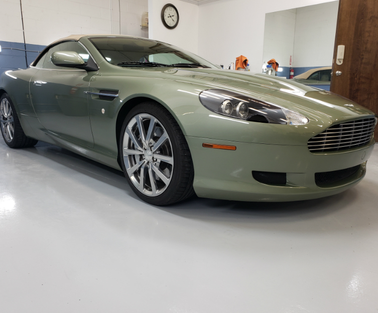 Green Aston Martin with Paint Protection Film (Clear Bra)